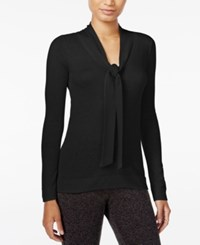 Maison Jules Tie Neck Sweater Only At Macy's Deep Black