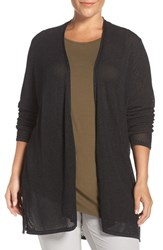 Eileen Fisher Plus Size Women's Twisted Tencel Lyocell Pointelle Knit Cardigan Ash Black