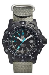 Men's Luminox 'Land Recon Point Man' Nylon Strap Watch 45Mm Black Black Blue