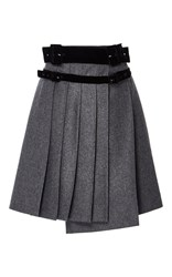 Carven Pleated Wool A Line Skirt Light Grey