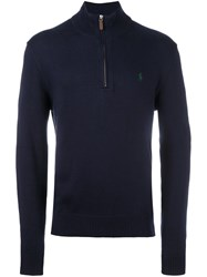 Polo Ralph Lauren Ribbed Zip Collar Jumper Blue