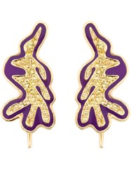 Kdia Gold And Sapphire Deco Earrings Pink And Purple