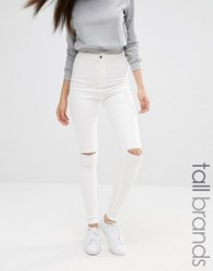 Missguided Tall Vice Super Stretch High Waisted Ripped Skinny Jeans White White