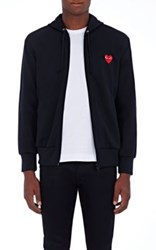 Comme Des Garcons Play Men's Heart Patch Zip Front Hoodie Black