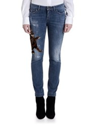 Dolce And Gabbana Embroidered Kitten Skinny Jeans Blue