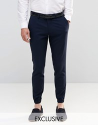 Only And Sons Skinny Cuffed Hem Trousers With Stretch Navy