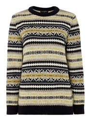 Gloverall Fair Isle Crew Neck Jumper Navy