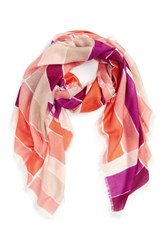 Women's Nordstrom Stripe Cashmere And Silk Scarf Coral Coral Combo