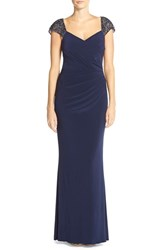 Women's Js Boutique Embellished Sleeves Ruched Gown