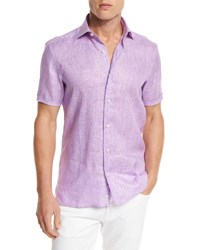 Ermenegildo Zegna Over Dyed Linen Short Sleeve Sport Shirt Purple Md Prp Sld