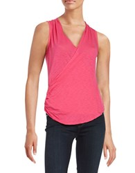 Red Haute Surplice Front Burnout Tank Top Pink