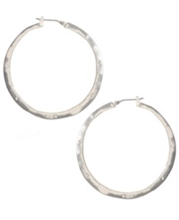 Kenneth Cole New York Earrings Silver Tone Crystal Hoop