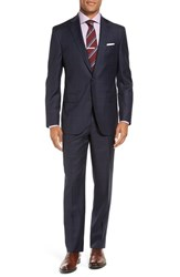 David Donahue Men's Big And Tall 'Ryan' Classic Fit Plaid Wool Suit Navy