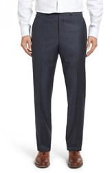 Santorelli Men's Flat Front Windowpane Wool Trousers Navy