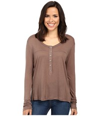 Project Social T Parker Flax Henley Shitake Women's Clothing Brown