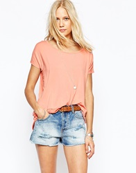 Abercrombie And Fitch Hi Lo Sheer Hem T Shirt Peach