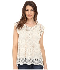 Vince Camuto Short Sleeve Scalloped Hem Lace Tee W Cami Antique White Women's T Shirt