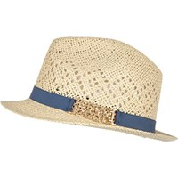 River Island Womens Cream Straw Trilby Hat