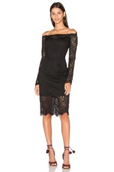 Bobi Black Lace Crochet Overlay Long Sleeve Off The Shoulder Dress