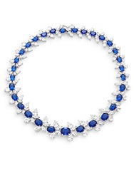 Cz By Kenneth Jay Lane White And Blue Stone Cluster Collar Necklace Silvertone