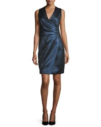 J. Mendel Sleeveless Metallic Faux Wrap Dress Ciel Gele