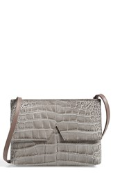 Vince 'Small' Croc Embossed Leather Crossbody Bag Grey Stone