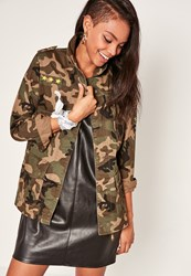 Missguided Camo Utility Zipped Jacket Green Khaki