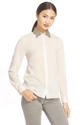 Alice Olivia 'Saira' Embellished Collar Stretch Silk Blouse Antique
