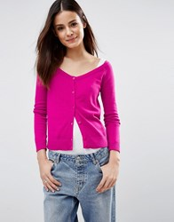 Asos Cardigan In Fine Knit Off Shoulder Shape Pink