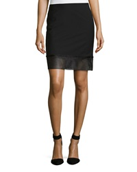 L.A.M.B. Gabardine Eyelet Border Skirt Black