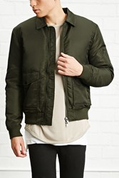 Forever 21 Collared Nylon Bomber Jacket