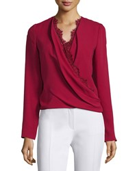 J. Mendel Long Sleeve Lace Trim Blouse Ruby Red Women's