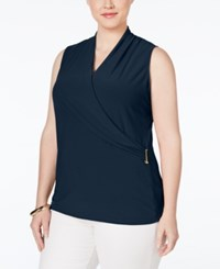 Charter Club Plus Size Faux Wrap Top Only At Macy's Intrepid Blue Combo