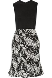 Mikael Aghal Embroidered Crepe Dress Black