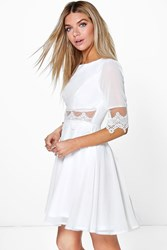 Boohoo Lace And Mesh Insert Skater Dress Ivory