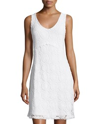 Neiman Marcus Lace Sleeveless A Line Dress White