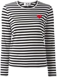 Comme Des Garcons Play 'Heart' Patch Striped T Shirt Black