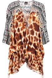 Just Cavalli Printed Asymmetric Crepe De Chine Top Brown