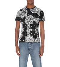 Anglomania Bandana Print Cotton Jersey T Shirt White Black