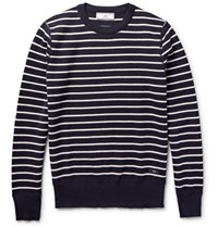 Ami Alexandre Mattiussi Striped Wool Sweater Midnight Blue