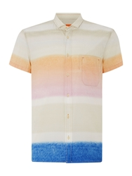 Hugo Boss Faded Stripe Printed Shirt Orange