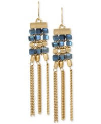 Kenneth Cole New York Gold Tone Beaded Fringe Drop Earrings