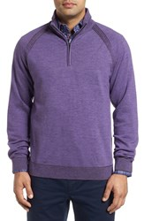 Robert Graham Men's Jovanni Wool Quarter Zip Sweater Heather Purple