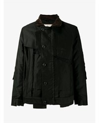 Miharayasuhiro Cotton Military Jacket Black Brown Multi Coloured