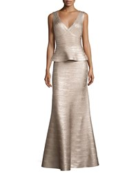 Herve Leger Sleeveless V Neck Peplum Gown Rose Gold Foil Women's