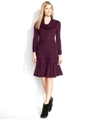 Calvin Klein Long Sleeve Cowl Neck Sweater Dress Aubergine