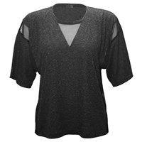 337 Brand Triangle Mesh Tee Charcoal Heather Grey Black