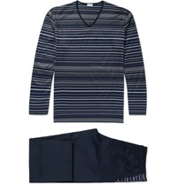 Zimmerli Cotton Jersey Pyjama Set Navy