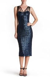 Dress The Population Women's 'Alex' Strappy Sequin Midi Navy