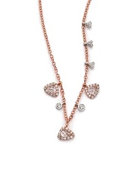 Meira T White Topaz Diamond And 14K Rose Gold Charm Necklace